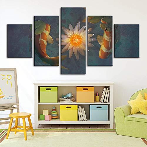 Home Decor Canvas s Cyprinus Carpio Immagini Lotus Wall Stampe Modulari Cuadros Opere d'Arte Poster per Soggiorno