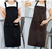 Aprons 2 PACK with Pocket Adjustable Hook Waterproof Applicable for Home Kitchen, BBQ, Cofe, Hotel, Floral Sho