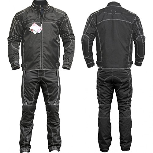 Germanwear 2-teiler Motorradkombi Cordura Textilien Motorradjacke & Motorradhose Schwarz, Größe:54