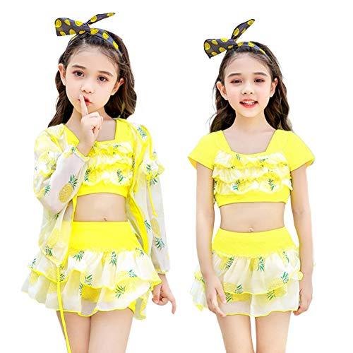 CYGJYX Mädchen Badebekleidung Split niedlichen Kinder Sonnencreme Boxer Badeanzug großes Kind Baby Prinzessin Kleid Badeanzug 3-teiliges Set,Yellow,2XL