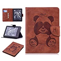 DENDICO Kindle (2016 Model) Leather Flip Notebook Style Case e-Book Reader Cover [Stand Function] [Magnetic Closure] [Card Slots] Slim WeightLight Protective Case for Amazon Kindle (2016 Model) - Brown