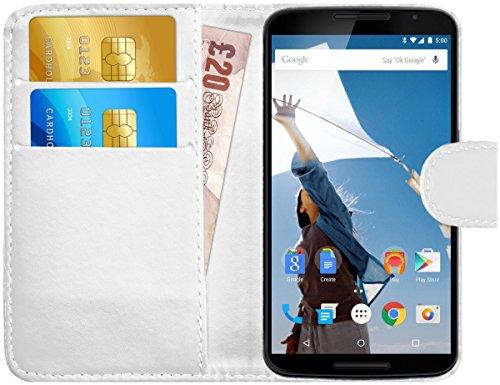 G-Shield Motorola Google Nexus 6 Hülle mit Kartenfach Ledertasche Klapphülle PU Leder Schutzhülle Tasche Flip Case Cover Etui Handyhülle mit Displayschutzfolie und Stylus - Weiß