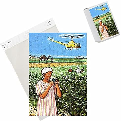 Photo Jigsaw Puzzle of Unidentified arab farmer with camel and helicopter in background