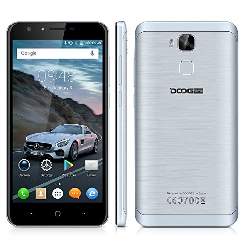"Doogee Y6C - Smartphone Libre 4G LTE (Android 6.0, Pantalla 5.5"", 8.0 Mp, 16GB ROM, 2GB RAM, Quad-Core 1.3GHz, Dual SIM, Lector de huellas, Bluetooth, GPS, WIFI), Gris"