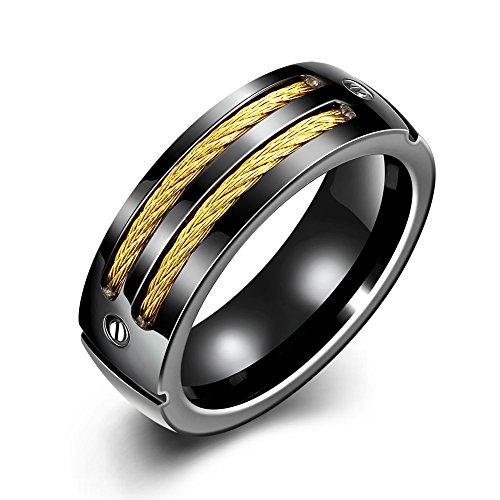iSchmuck 7mm Edelstahl Ring Band Schwarz Gold Golden Draht Schrauben Prägung Motorradfahrer Biker Herren