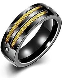 YAZILIND joyas exquisitas armas negro plateado anillo de personalidad de acero de titanio