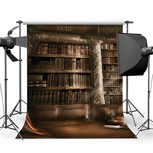 BuEnn 10X10FT 300X300cm Dünne Vinyl Fotografie Kulissen Europäische Interior Bücherregal Blume Reben Party Event Halloween Urlaub Portraits Hintergrund Fotostudio Requisiten 9400