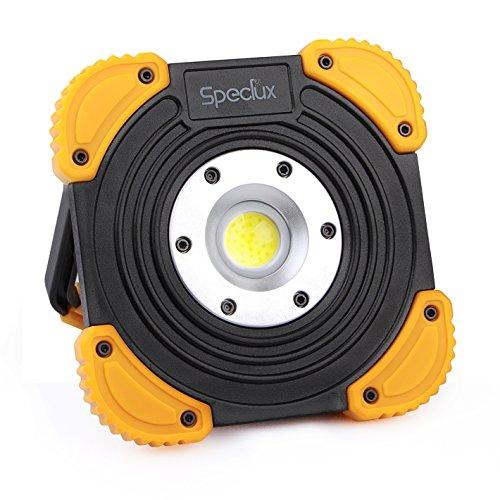Speclux 8W cob led Arbeitsleuchte Strahler Fluter mit 2 Stufen, Akku Tageslichtlampe Floodlight batteriebetrieben und wasserdicht, Schwarz Aluminium.