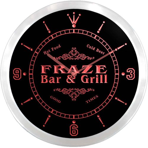 ncu15256-r-fraze-family-name-bar-grill-cold-beer-neon-sign-led-wall-clock
