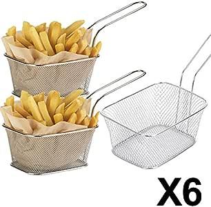 Fablcrew 1Pcs Mini Paniers /à Frites Individuels en INOX Plats de Service /à Frites Passoire /à Frite,Panier de Service pour Chips Frites