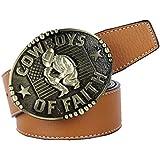 56be2d2c7c Baosity Cinturón con Hebilla Diseño Vaquero Occidental Varios Patrones  Cinturón de Color Negro   Amarillo