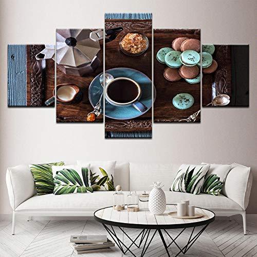 dalxsh Wohnkultur Leinwand Malerei Rahmen Hd Drucke 5 Stücke Kaffeetasse Bilder Küche Lebensmittel Dessert Haus Modulare Wandkunst Poster-30X40Cmx2/30X60Cmx2/30X80Cmx1 Elegante Dessert