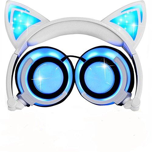 Cuffie over ear per bambini, con cavo, piegabili, con orecchie di gatto, con luci luminose, con cavo di ricarica USB per iPhone, telefoni Android, laptop, tablet, PC, computer, lettore MP3 e MP4.