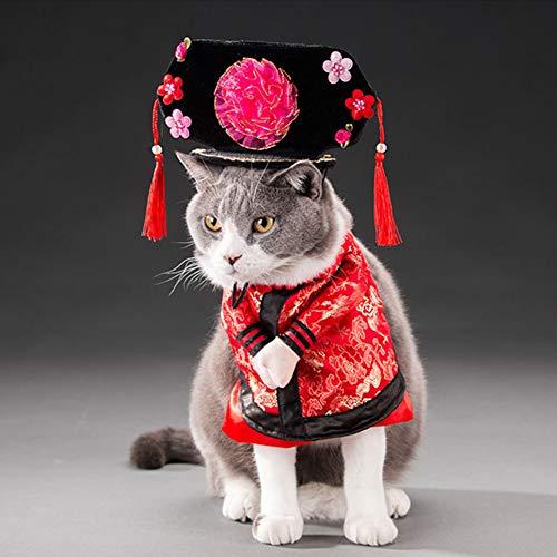Livecitys Haustierkostüm, Halloween, für Hunde und Katzen, chinesischer Kaiser, Prinzessinnen-Outfit, Cosplay-Kostüm, lustige ()