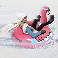 SYQ Inflable de esquí círculo, Anillo del Unicornio del Flamenco por un Adulto Anillo de esquí con la manija Ligera Trineo