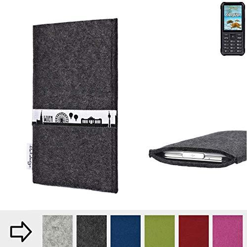 flat.design für Energizer H20 Schutztasche Handy Hülle Skyline mit Webband Wien - Maßanfertigung der Schutzhülle Handy Tasche aus 100% Wollfilz (anthrazit) für Energizer H20