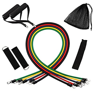 Anpro Resistance Bands Set - 5 Tube Set with Door Anchor, Handle, Ankle Straps and Carrying Bag for Home fitness, Travel Fitness and Exercise - cheap UK light store.