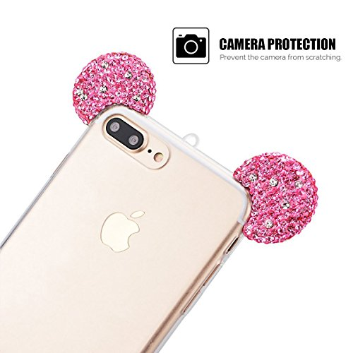 Cover iPhone 7 Plus / iPhone 8 Plus (5.5 pollici) Case Spiritsun Moda Ultraslim TPU Case Elegante Carina Souple Flessibile Morbido Silicone Copertura Perfetta Protezione Bling Bling Shell Paraurti Cus Rosa Rossa