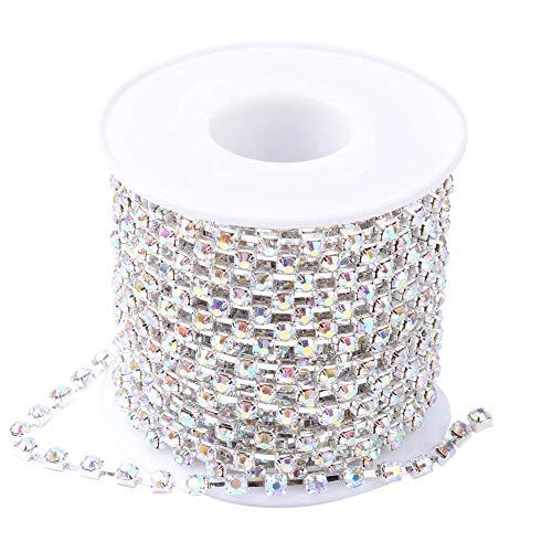 Nbeads 1rotolo di 9,1m 2mm placcato oro perline di cristallo catena strass catena taglio cristallo perline stringa rotolo per lavoretti fai da te accessori crystal ab color