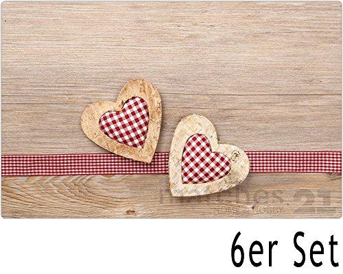 matches21 Tischsets Platzsets MOTIV Landhaus Herzen auf Holz / Holzoptik 6 Stk. Kunststoff abwaschbar je 43,5x28,5 cm