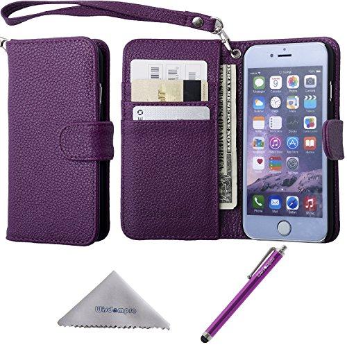 iPhone 6s Plus / 6 Plus Hülle, Wisdompro® Premium PU-Leder 2-in-1 [Folio Flip Wallet] Schutzhülle mit Kreditkartenhaltern / Steckfächern für Apple iPhone 6s Plus / 6 Plus (schwarz) Lila mit Trageschlaufe