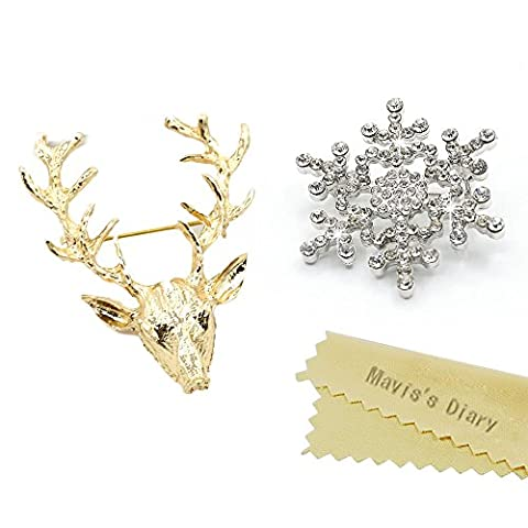 [2-Pack] Mavis's Diary Glittering Diamonds Crystal Snowflake Brooch Pin & Gold Reindeer Brooch Pin Gifts Pack of