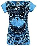 Guru-Shop Sure T-Shirt Eule, Damen, Hellblau, Baumwolle, Size:M (38), Bedrucktes Shirt Alternative Bekleidung
