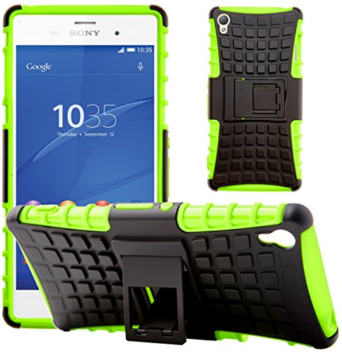 Sony Xperia Z3 Stoßfest Hülle Silikon mit Ständer G-Shield Schutzhülle Dünn Tasche Hybrid Armor Cover Case Etui Handyhülle für Sony Xperia Z3 - Grün Xperia Z3 Case Ständer