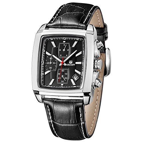 Megir Herren-Armbanduhr Quarzuhr, legeres Lederband Chronograph Analog (Modeschmuck 2028)