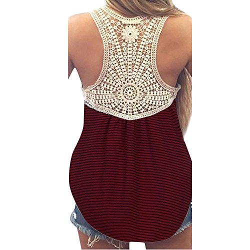 Damen Sommer Spitze Ärmellos O-Ausschnitt Oberteile DOLDOA Bluse für Frauen Womens Peacoat