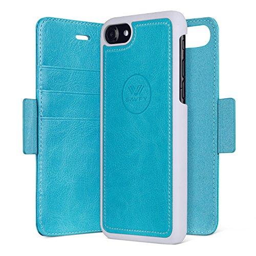Custodia iPhone 7, SAVFY 2 in 1 Flip Magnetica Custodia in pelle Protettiva Case Portafoglio Cover Supporto Stand con Porta Carte e PC Cover per iPhone 7 4.7 pollice - Blu Blu