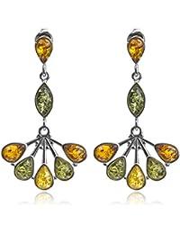 Multicolor Amber Sterling Silver Fan Earrings 6TFDfO