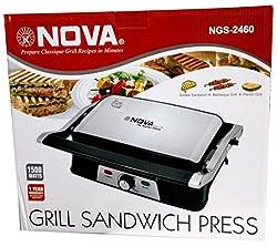 Nova NGS 2460 1500-Watt 3-In-1 Panini Grill Press (Black and Silver)