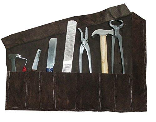 AMKA Hufbeschlag Garnitur im Lederetui 8 teilig Huf Werkzeug Set, Hufbeschlag Set für die Hufpflege | Farriers Horse Hoof Set