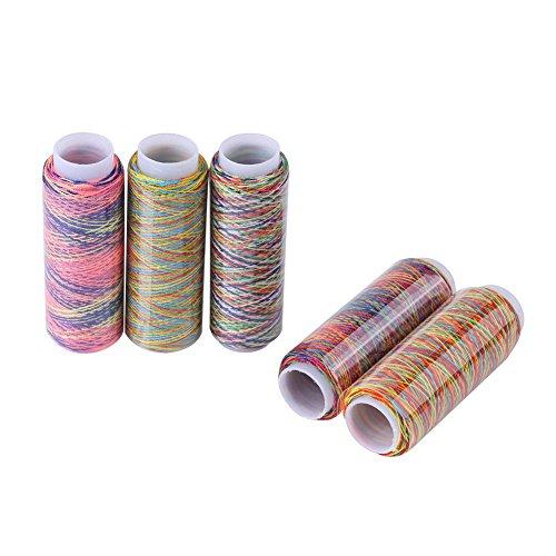 Overlockgarn Set, Multicolor Thread 5 Spulen von Polyester Thread Yard, Nähgarn Set für Stickereien und Dekorative Näharbeiten 110m / 120 Yard