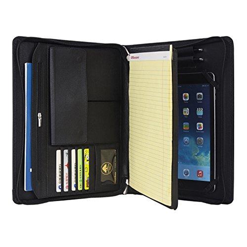 Echtes Litchi Stria Leder Reißverschluss Verschluss Reise Veranstalter Portfolio Business Padfolio für iPad Air 2/iPad Air oder 9,7 Zoll iPad Pro Kann setzen A4 Notebook (Reise-portfolio)