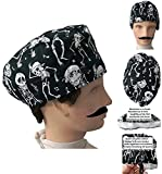 Scrub hat theatre cap Unisex operating caps Skeletons for short hair, surgeon, dentist, veterinary, Towel on the forehead, adjustable to your liking