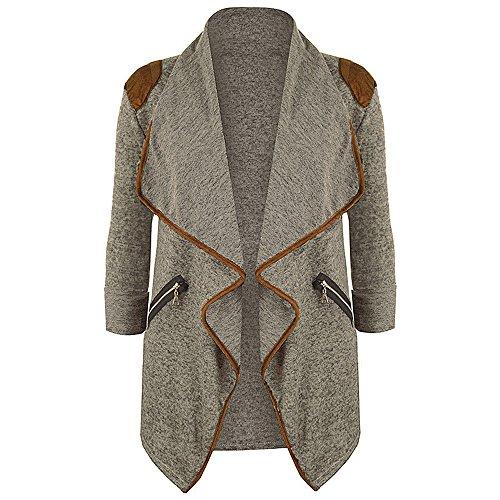 Kavitoz Damen Lightweight Asymmetrisch Offene Mantel Strickjacke Cardigan Strickmantel mit Tasche (XXL, Khaki) - Asymmetrische Tasche