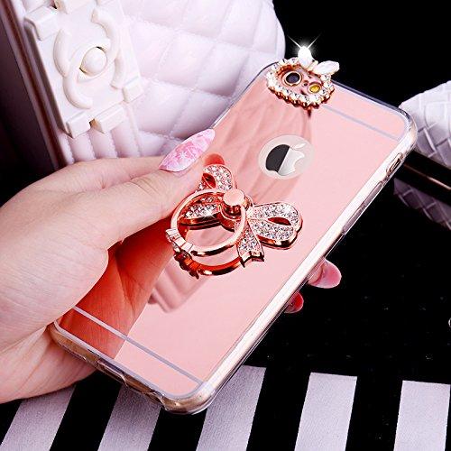 Coque iPhone 7, Étui iPhone 7, ikasus® Coque iPhone 7 Silicone Étui Housse Téléphone Couverture Miroir TPU avec [Diamant Ring Stand Support] Bowknot papillon couronne Modèle brillant Bling paillettes  Bowknot d'or rose#1