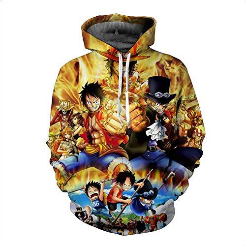 Portgas D Kostüm Ace Cosplay - Zcbm Kapuzenpullover Kapuzen Sportswear 3D Digitaldruck ONE Piece Monkey D. Luffy Portgas·D· Ace Sabo Sweatshirt Cosplay Kostüm Hoodie Pullover Outwear,A,5XL