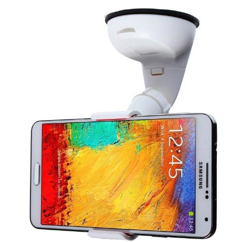 """Preisvergleich Produktbild wortek Premium Universal KFZ Halterung bis ca. 7"""" Displays (90mm Breite) extra starke Haftung für Phablets und Lock Hebel Weiß (z.B. für Samsung Galaxy S3, S4, S5, Note 2, Note 3, Apple iPhone 5 / 5S, Sony Z2, HTC One M8 uvm.)"""