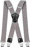 Decalen Hosenträger für Herren Breit 4 cm mit sehr Starken 4 Metall Clip Lang Einheitsgröße für Männer und Damen Einstellbar und Elastisch X Style (Leichtes Silber)