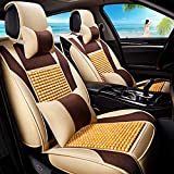 Car Seat Cover Protector Car Seat Cushion Summer Wooden Beads Car Seat Seat Cover Car Accessories Car Mat 5 Seat Universal Cool Pad Car Cover (Color : Beige-Deluxe Edition)