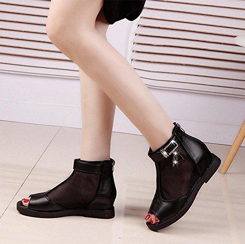 Frühling und Sommer high-top Schuhe in den höheren flach mit niedrigen Absätzen weiblichen Fischköpfen kühle Stiefel weibliche Sandalen Strass Anhänger Black