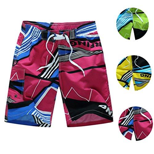 QinMM Bañador de hombre, traje de baño Pantalones cortos de la nadada Secado rápido playa Surf Boxer Correr Natación (Verde, L)
