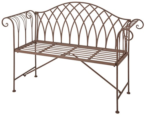 Esschert Design Gartenbank aus Metall, 131 x 46 x 90 cm, Sitzbank, in klassischer Optik, sehr stabil