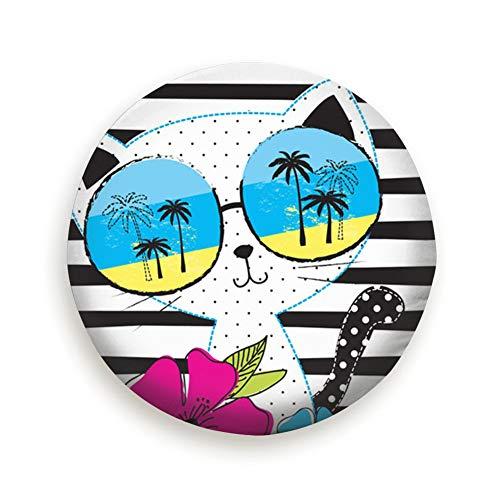Ye Hua Nette Katzen-Sonnenbrille-T-Shirt Tiere entzückende Ersatzreifen-Abdeckung wasserdicht staubdicht für Jeep, Anhänger, RV, SUV, LKW-Rad 17inch