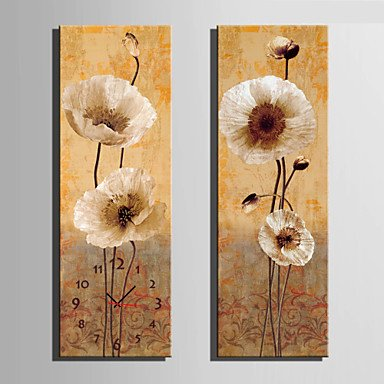Y & M floral moderne/contemporain Horloge murale rectangulaire toile 24 x 70 cm (9inchx28inch) x2pcs/30 x 90 cm (12inchx35inch) x2pcs au couvert 35\