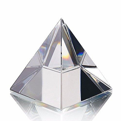 Energie Heilung transparent Kristall Glas Pyramide mit Gold Ständer Feng Shui Ägypten Ägyptische Figuren Miniaturen Ornaments Craft (80mm)