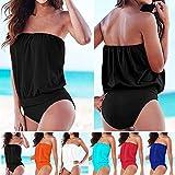 ISASSY – Maillot de Bain – Femme – Trikini – deux pièce – Uni – Bandeau – Sans armature – Bikini – Beach